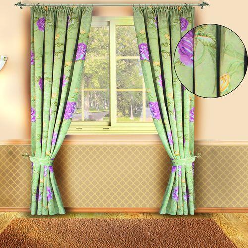 Комплект штор «Пионы на зеленом»