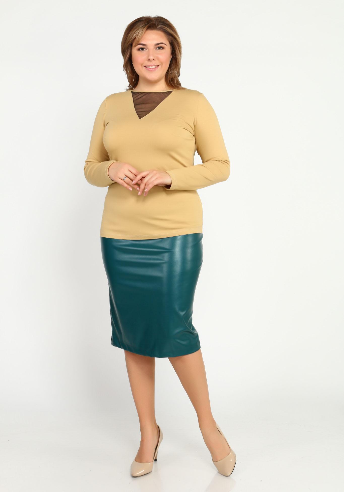 Блуза с длинным рукавом и вставкой