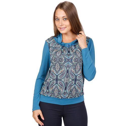 Блуза с воротником-хомут и принтом в виде майки