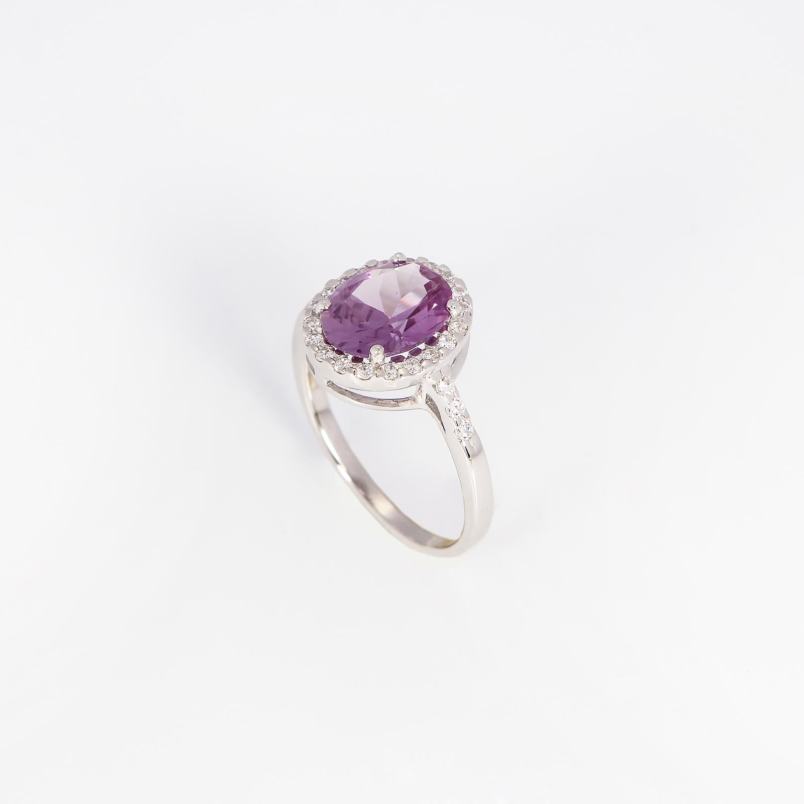 Серебряное кольцо «Сиреневый блюз»