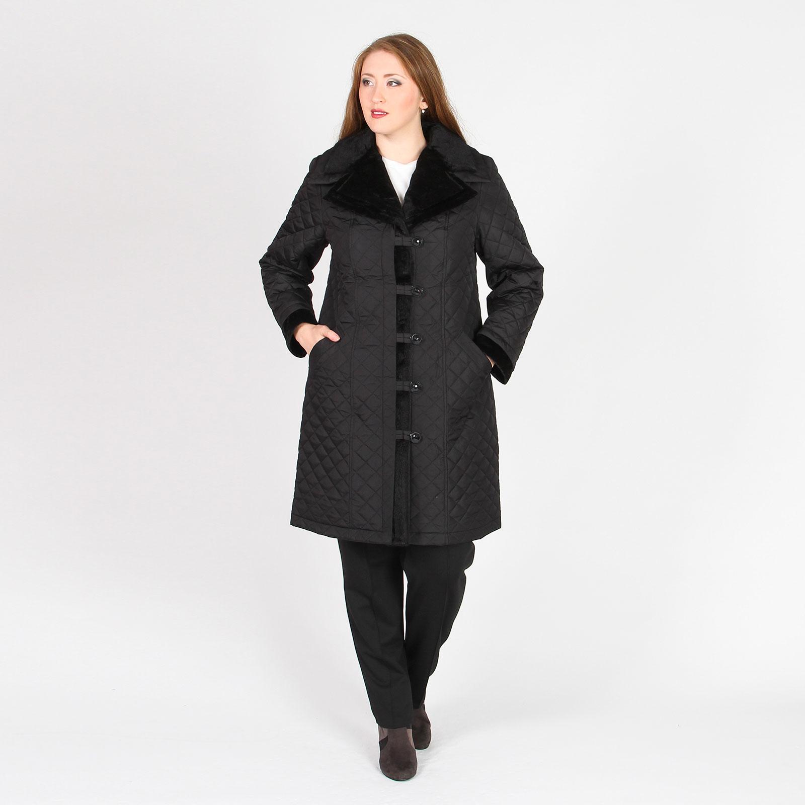 Пальто стеганое с отложным воротником