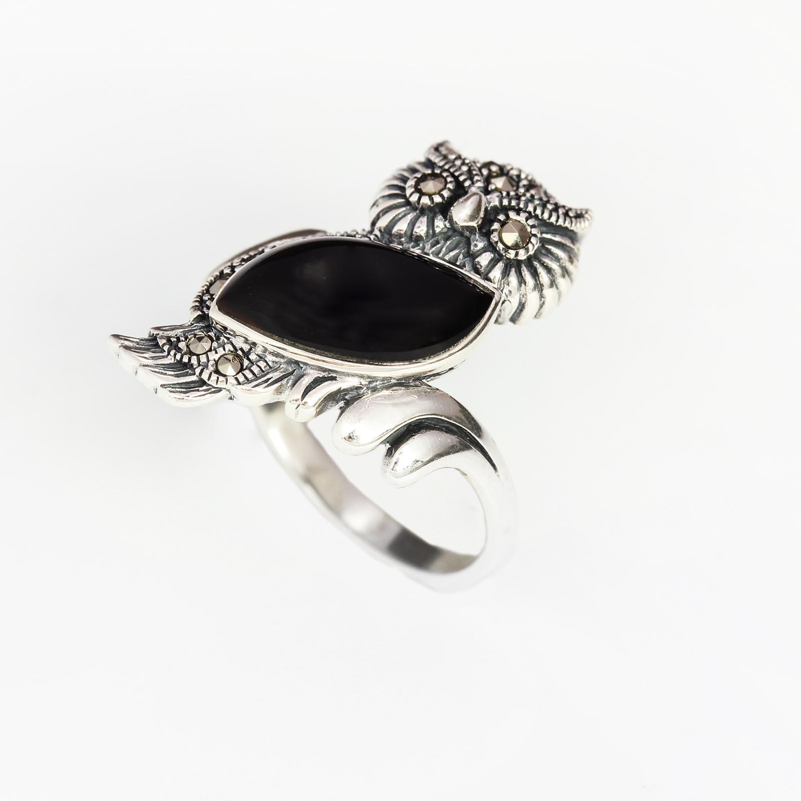 Серебряное кольцо «Лесная сова»