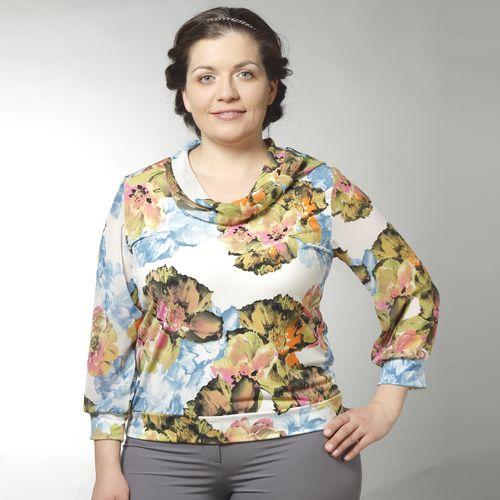 Блуза с шифоновыми рукавами и воротником-хомут