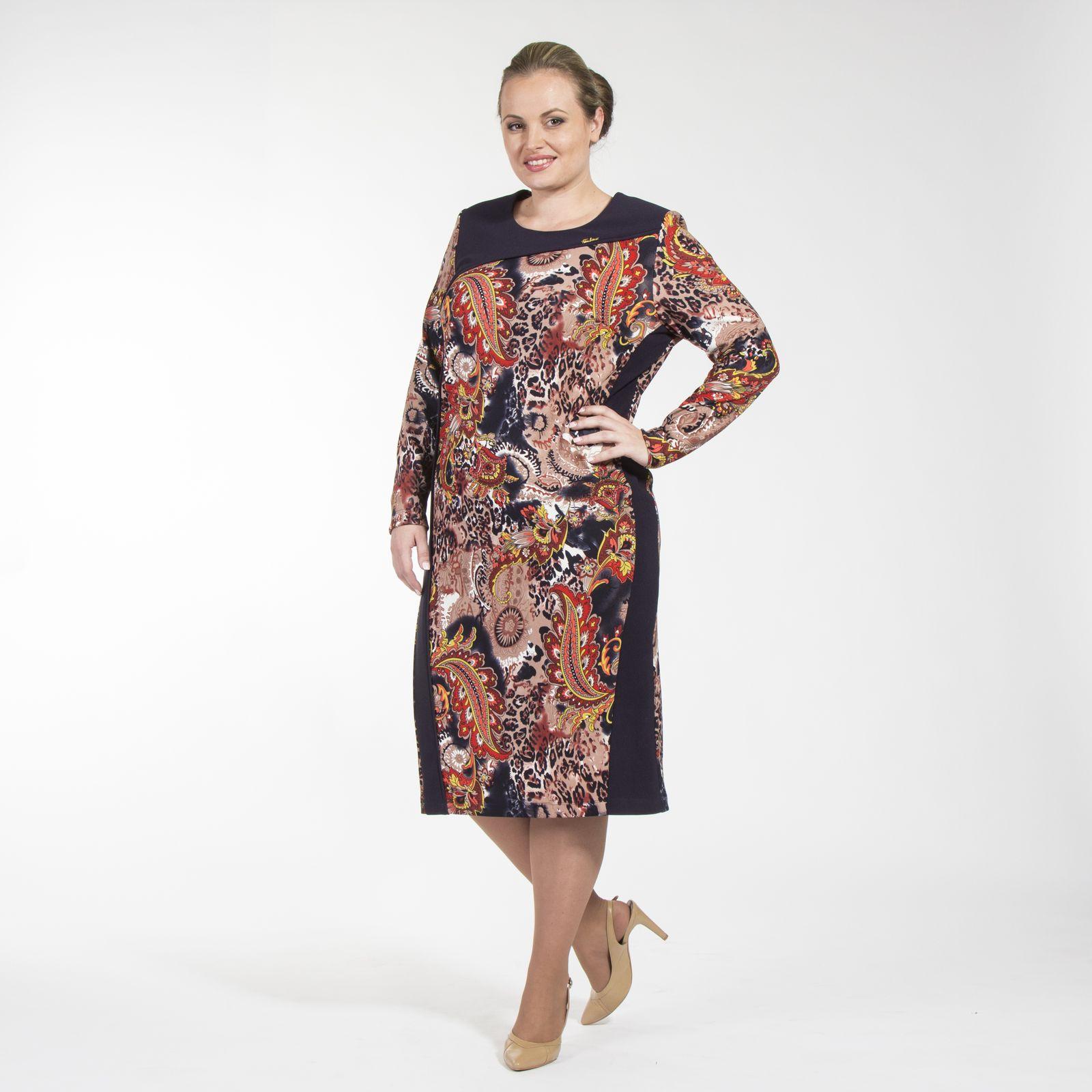 Платье-миди с фантазийным принтом