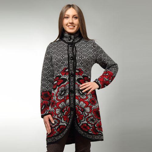 Пальто полушерстяное с цветочным принтом