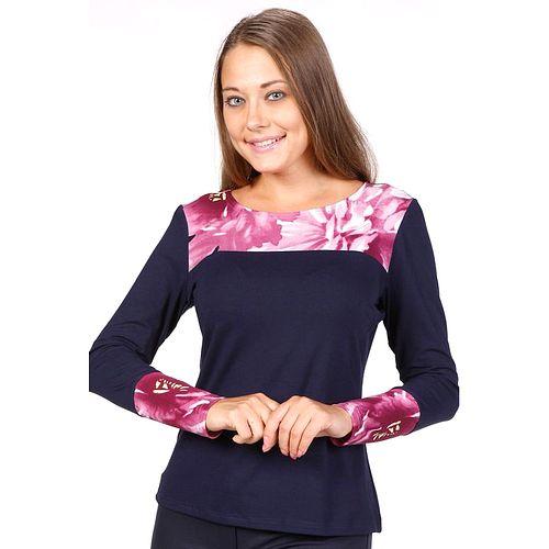 Блуза с цветочным принтом на груди и манжетах