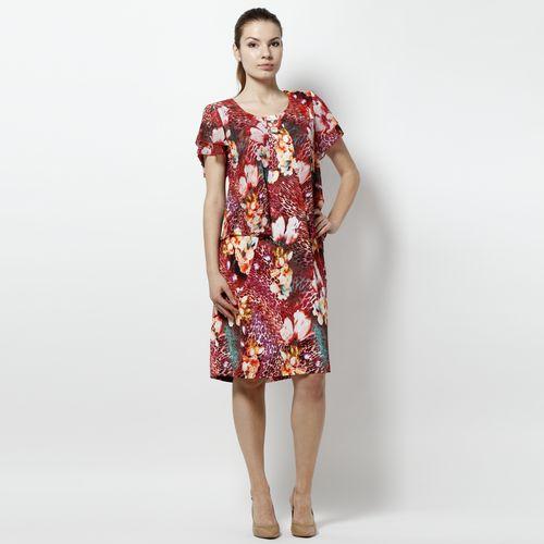Платье с имитацией шифоновой накидки