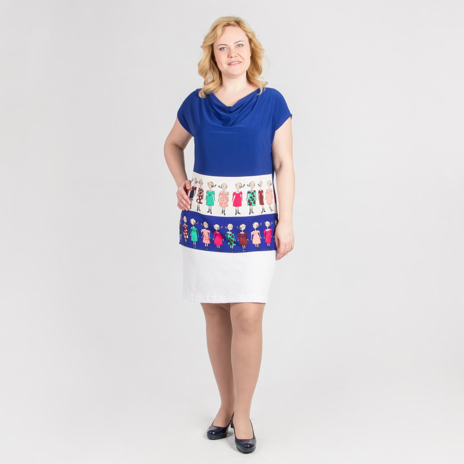 Блуза с воротником хомут и оригинальным принтом