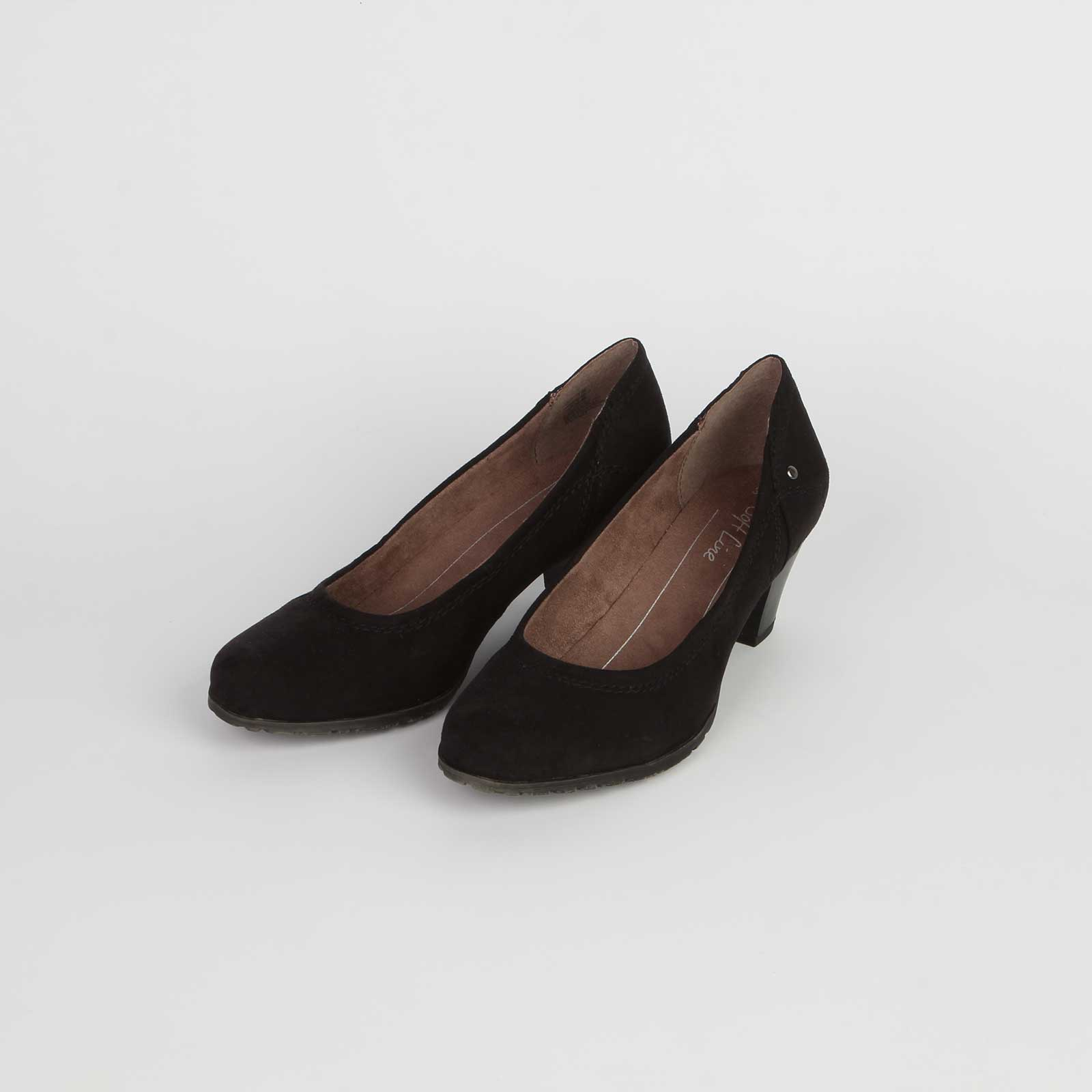 Туфли женские классические на удобном каблуке с закругленным мысом