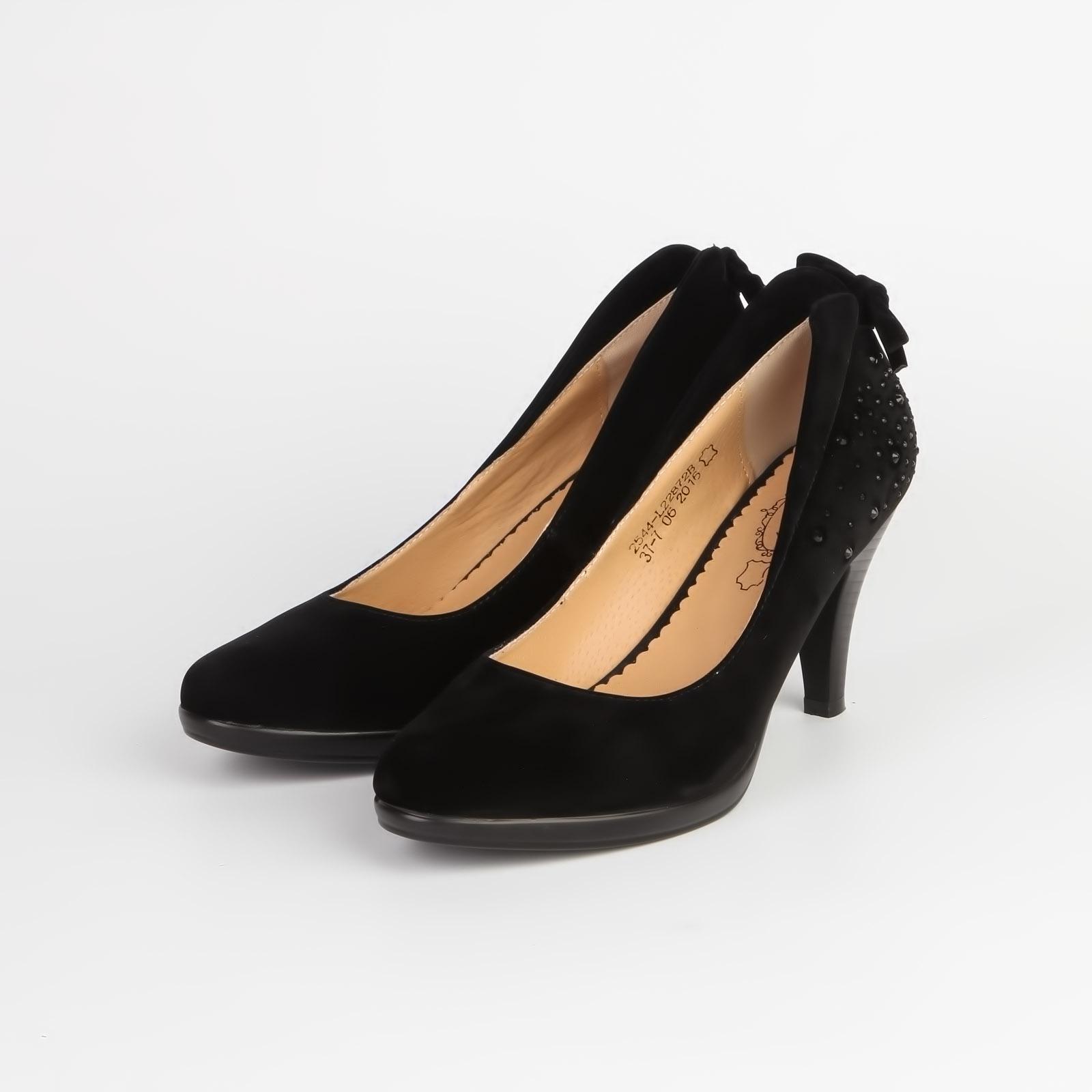 Туфли женские на среднем каблуке со стразами