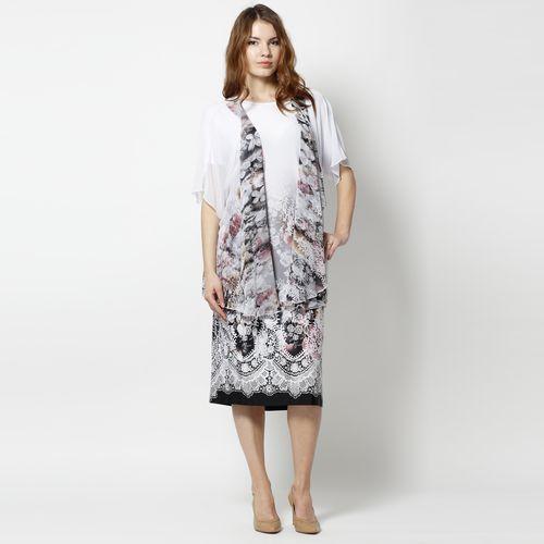 Комплект: платье и шифоновая накидка с ярким цветочным принтом