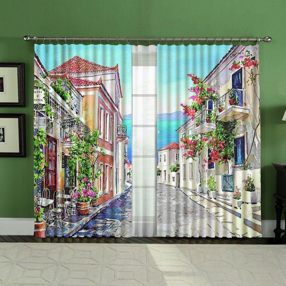 Комплект штор + тюль «Акварельная улица»