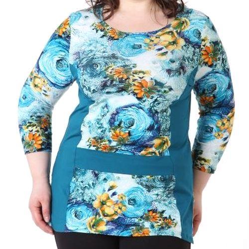 Блуза с ярким цветочным принтом