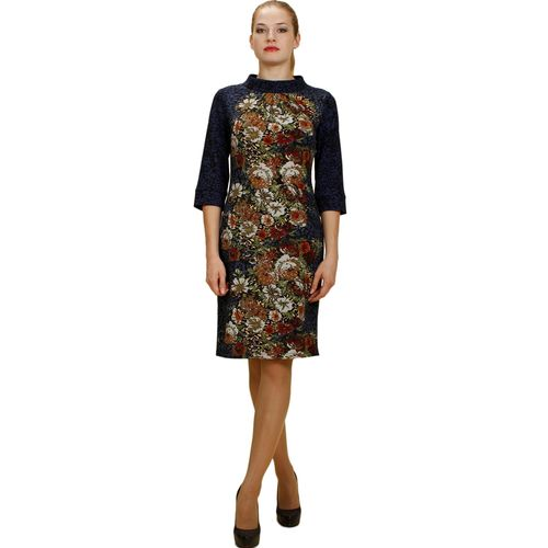 Платье с цветочным принтом и эффектом перфорации