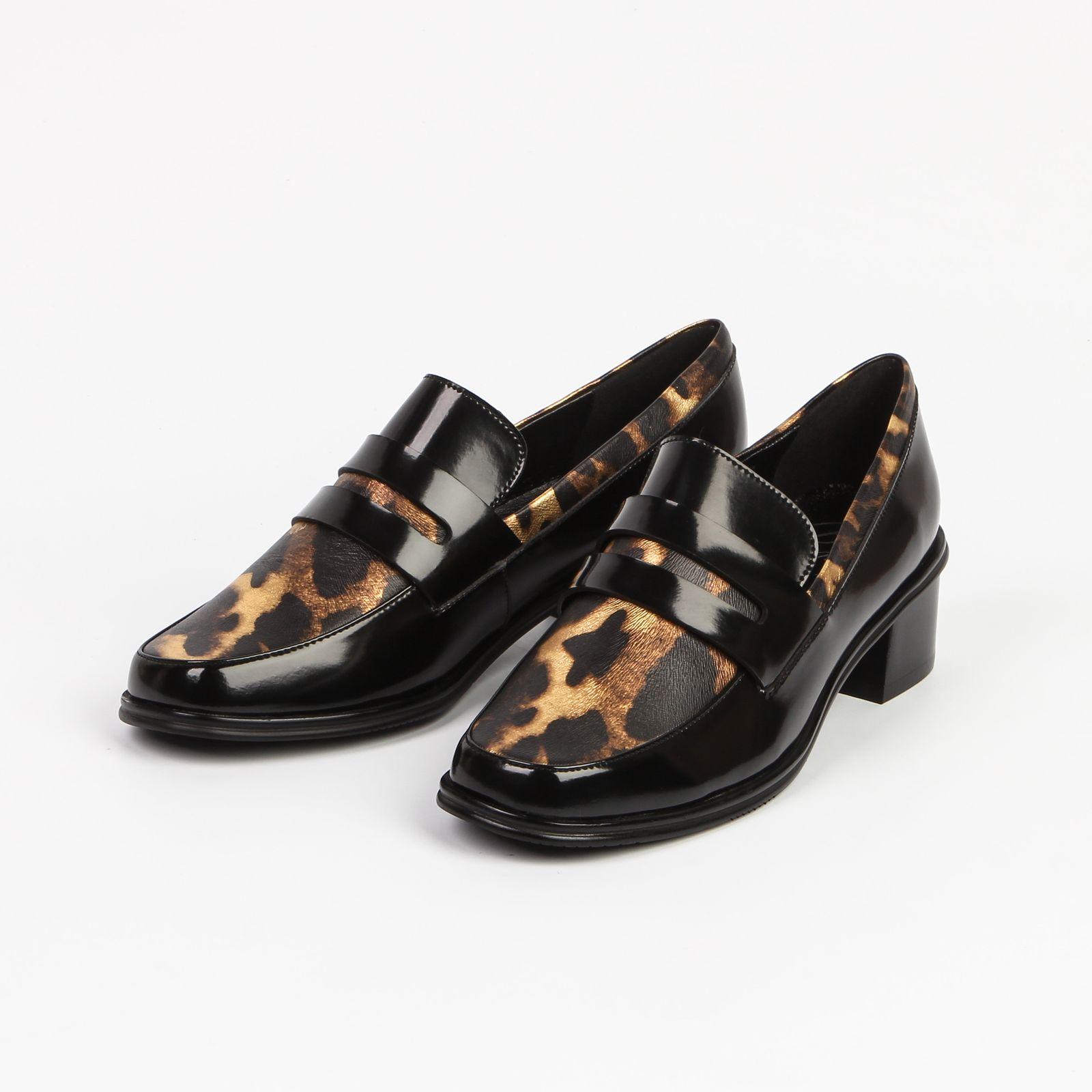 Туфли женские с леопардовой вставкой