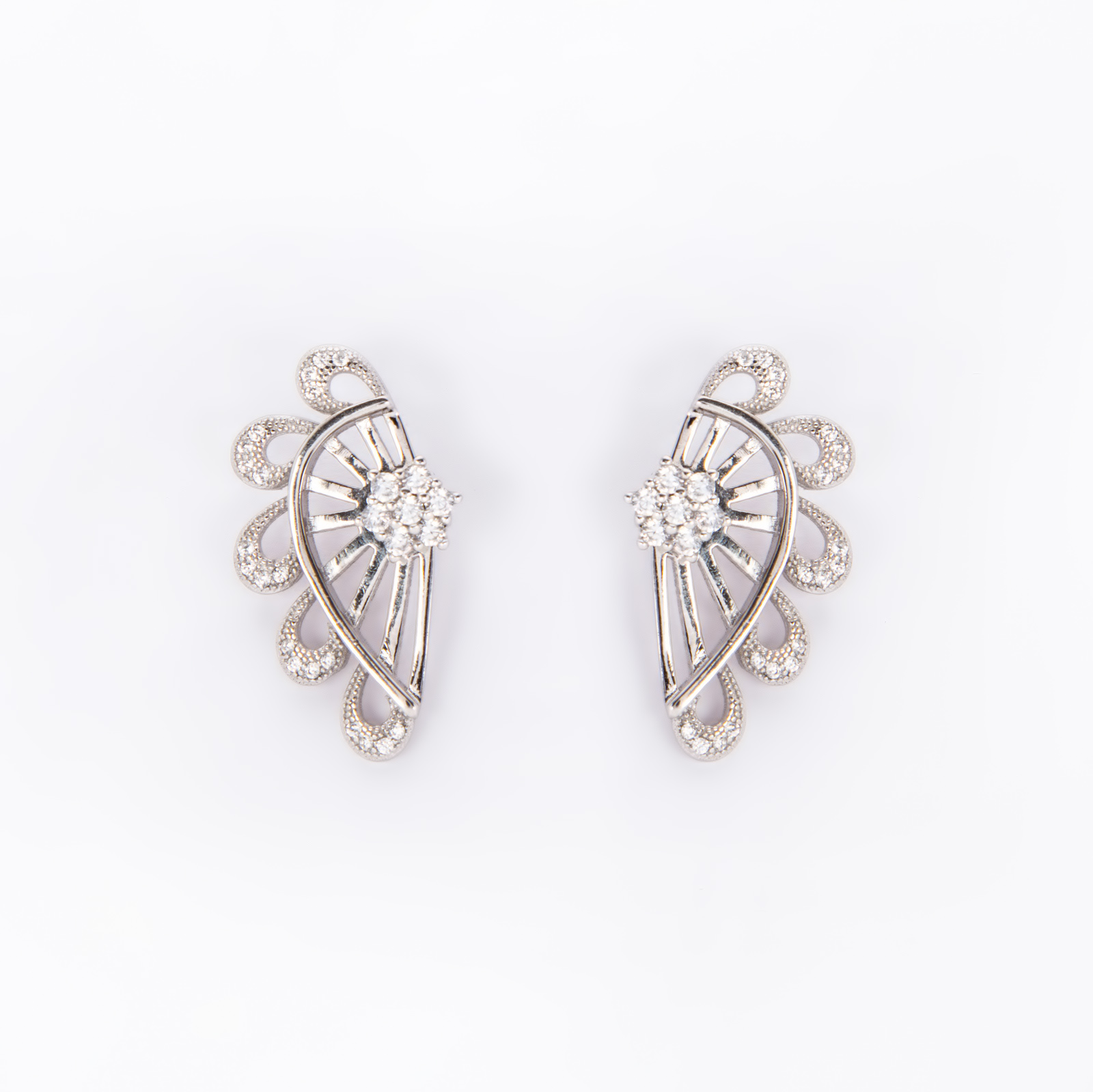 Серебряные серьги «Перо Жар-птицы»