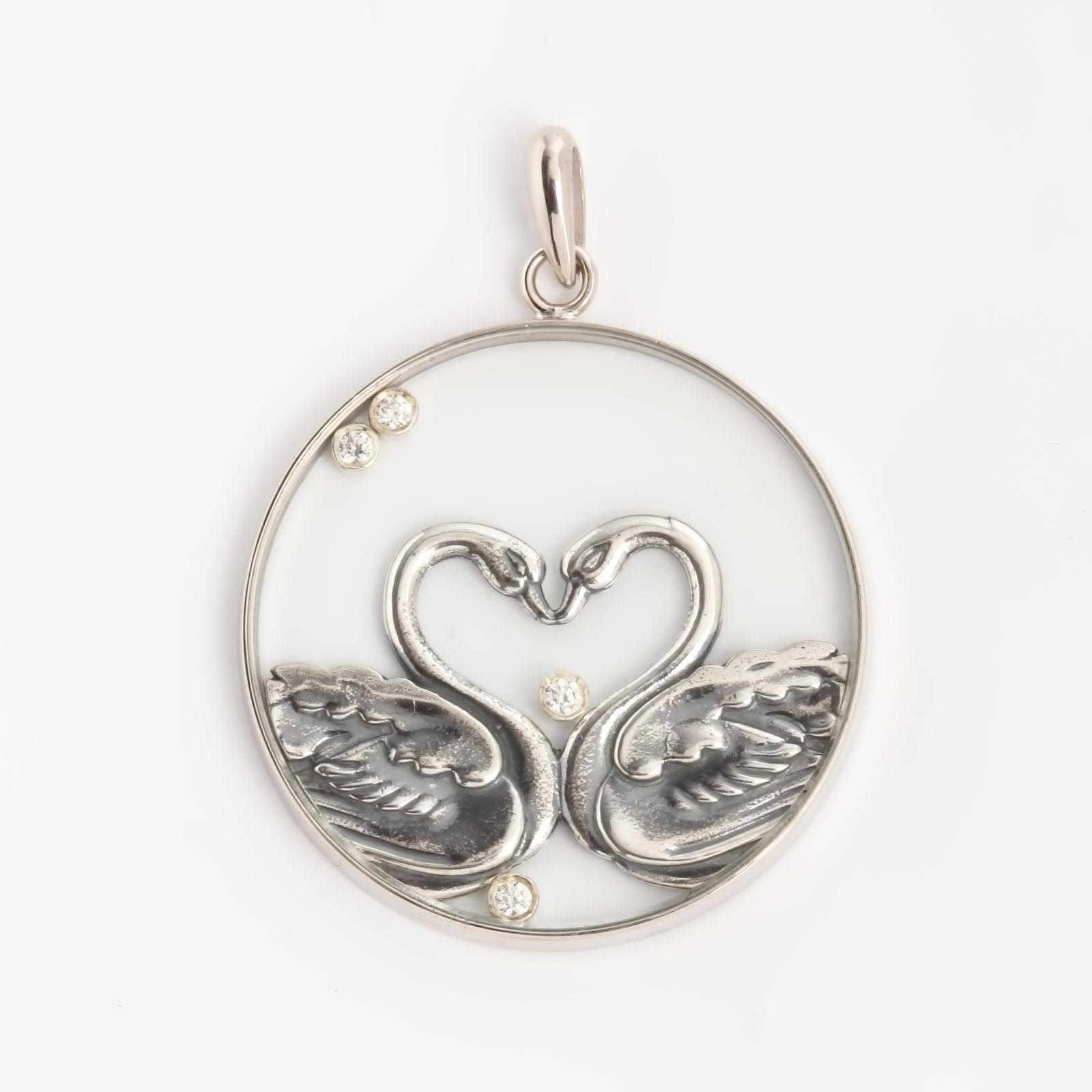 Серебряный кулон «Лебединая пара»