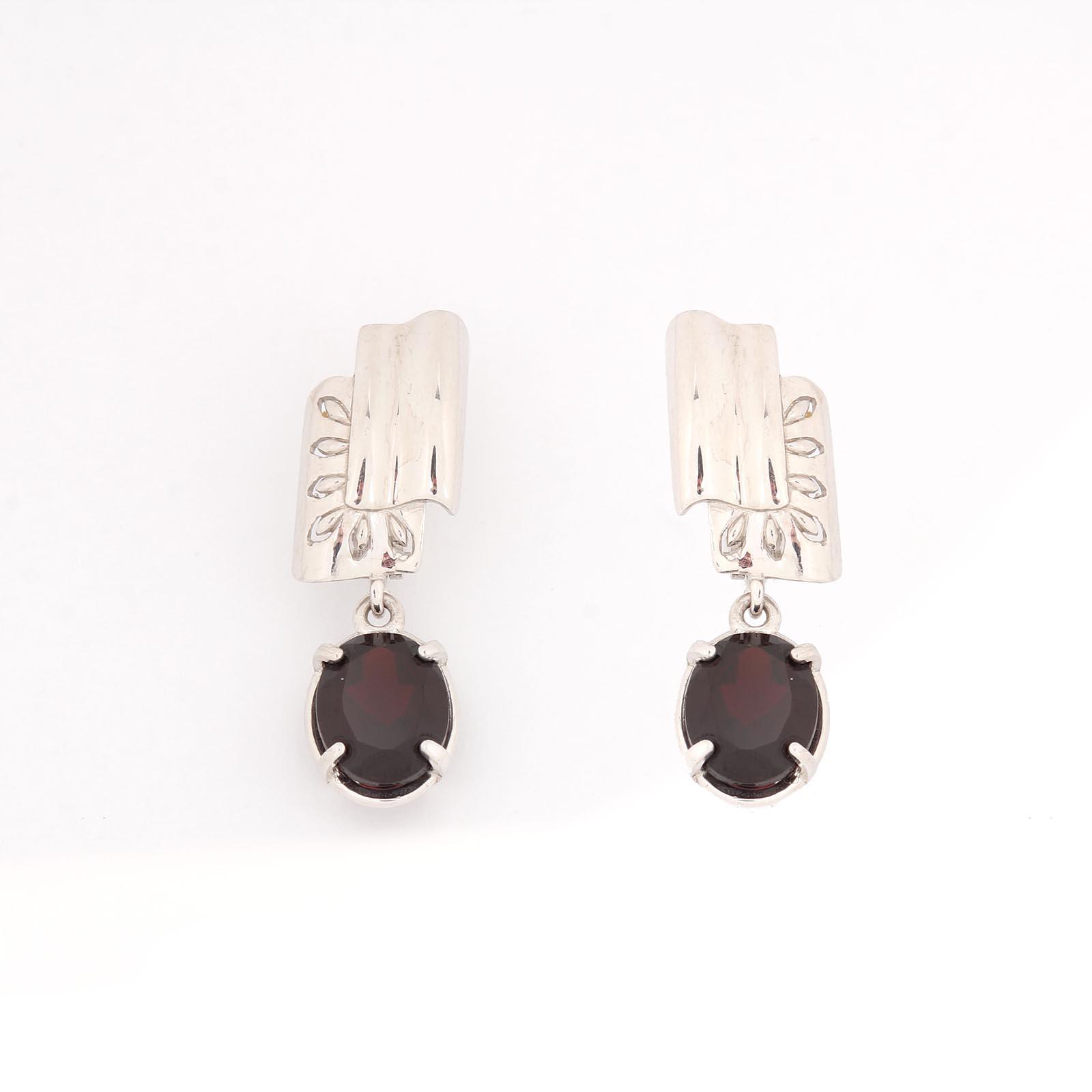 Серебряные серьги «Изящный марсала»