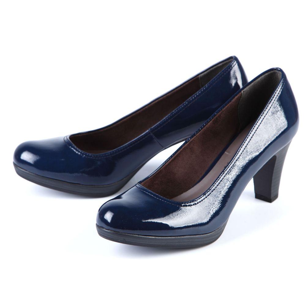 Туфли женские с оригинальным тиснением на каблуке