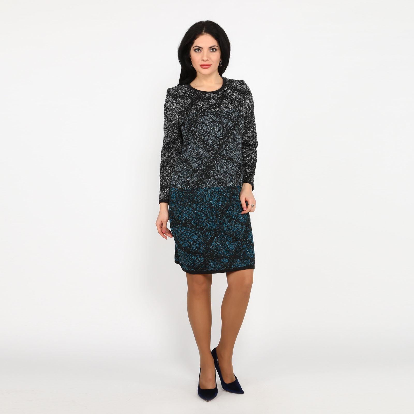 Платье-миди вязаное с длинным рукавом
