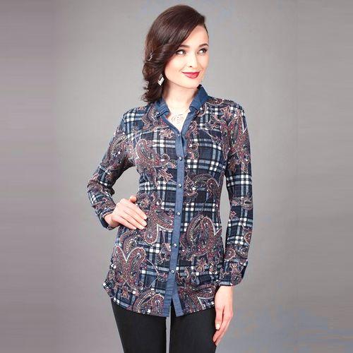 Трикотажная блуза в джинсовом стиле
