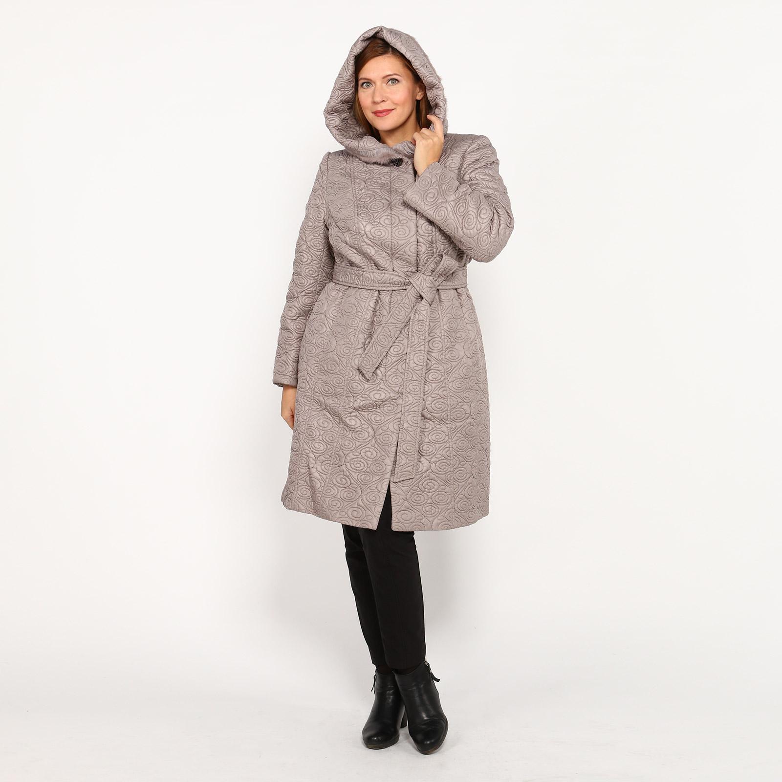 Пальто с поясом и капюшоном с отделкой