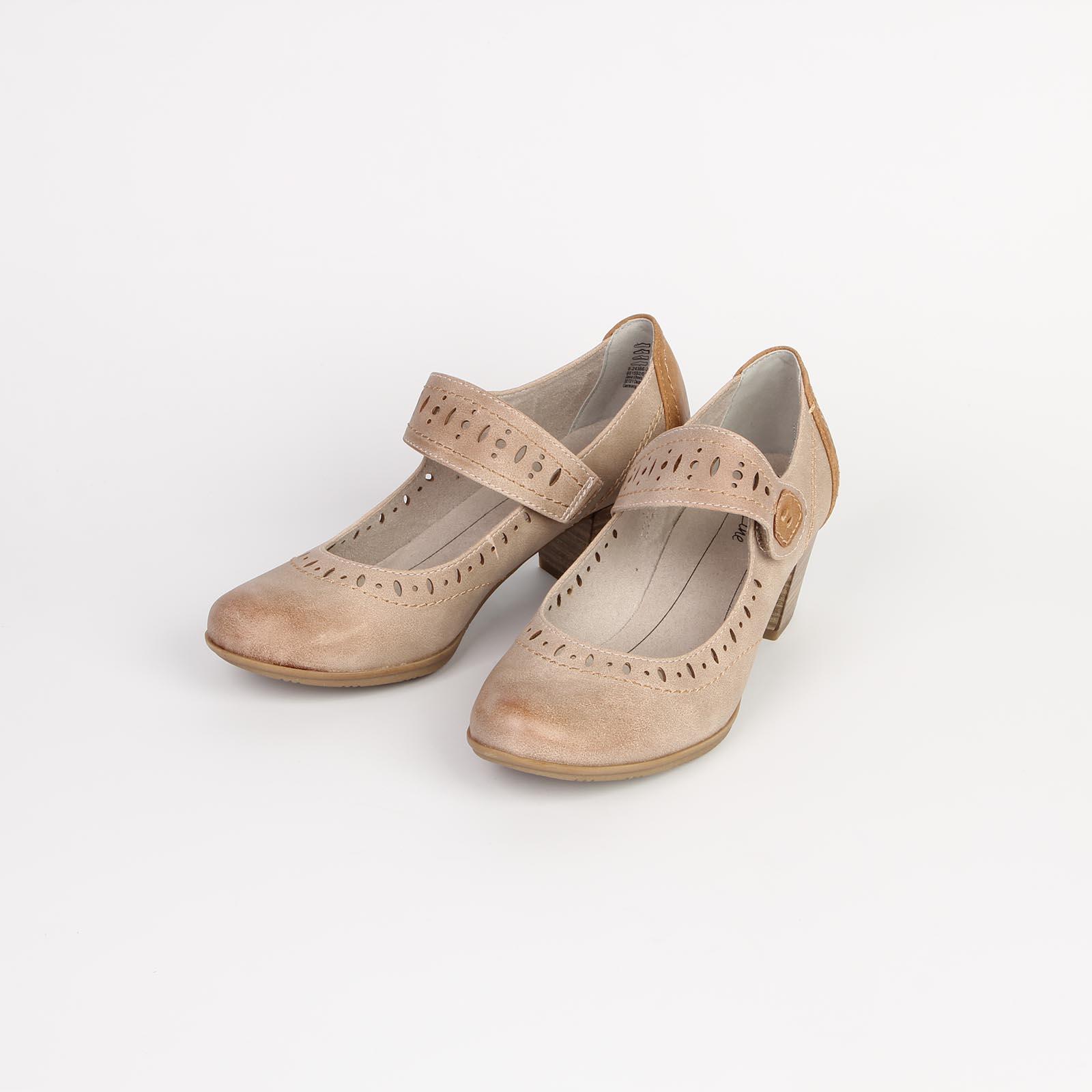 Туфли женские украшенные перфорацией по бокам и на ремешке