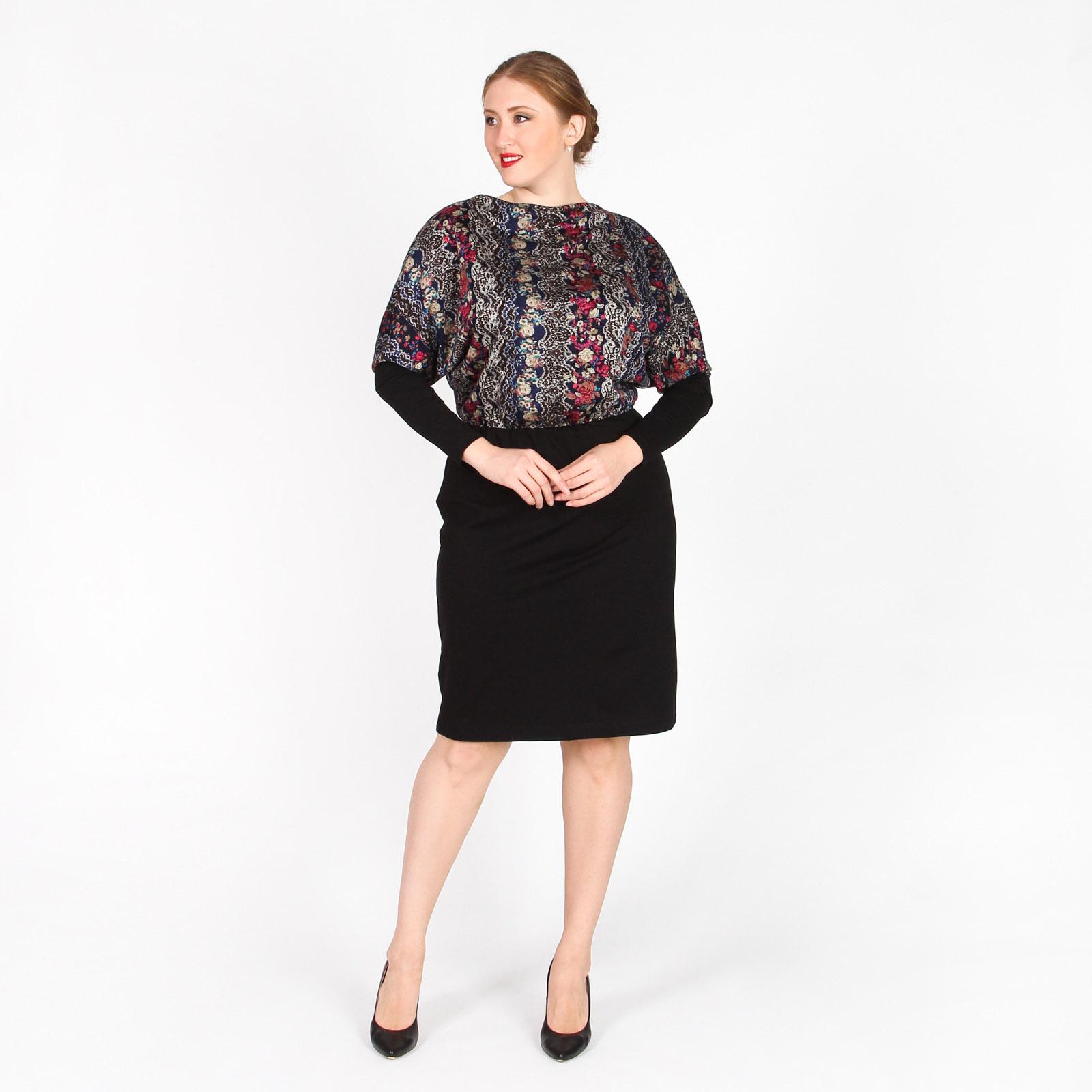 Платье оригинального кроя с контрастной юбкой