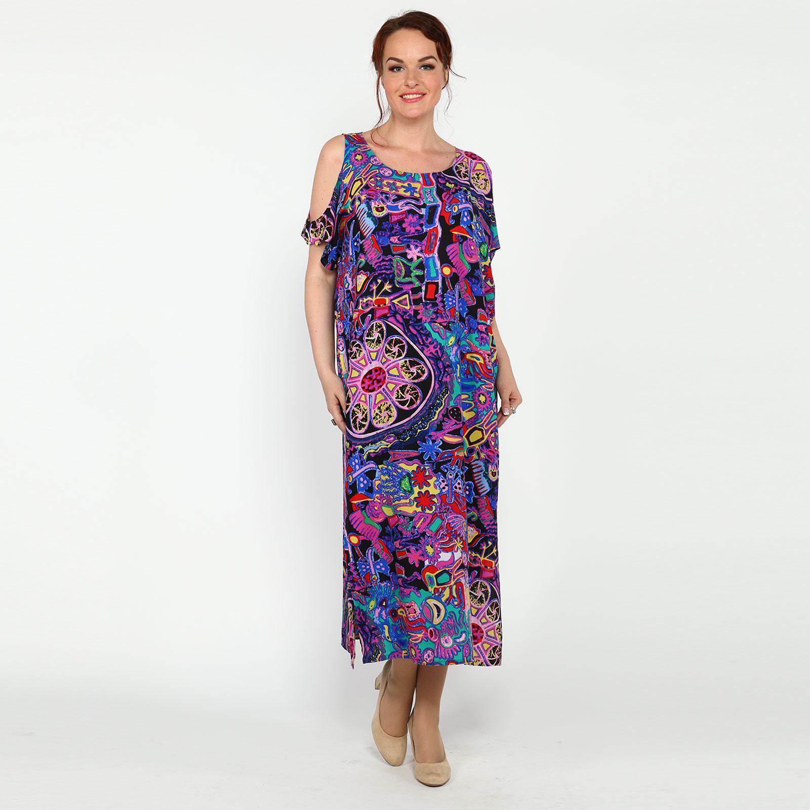 Платье-миди с оригинальным рукавом и принтом