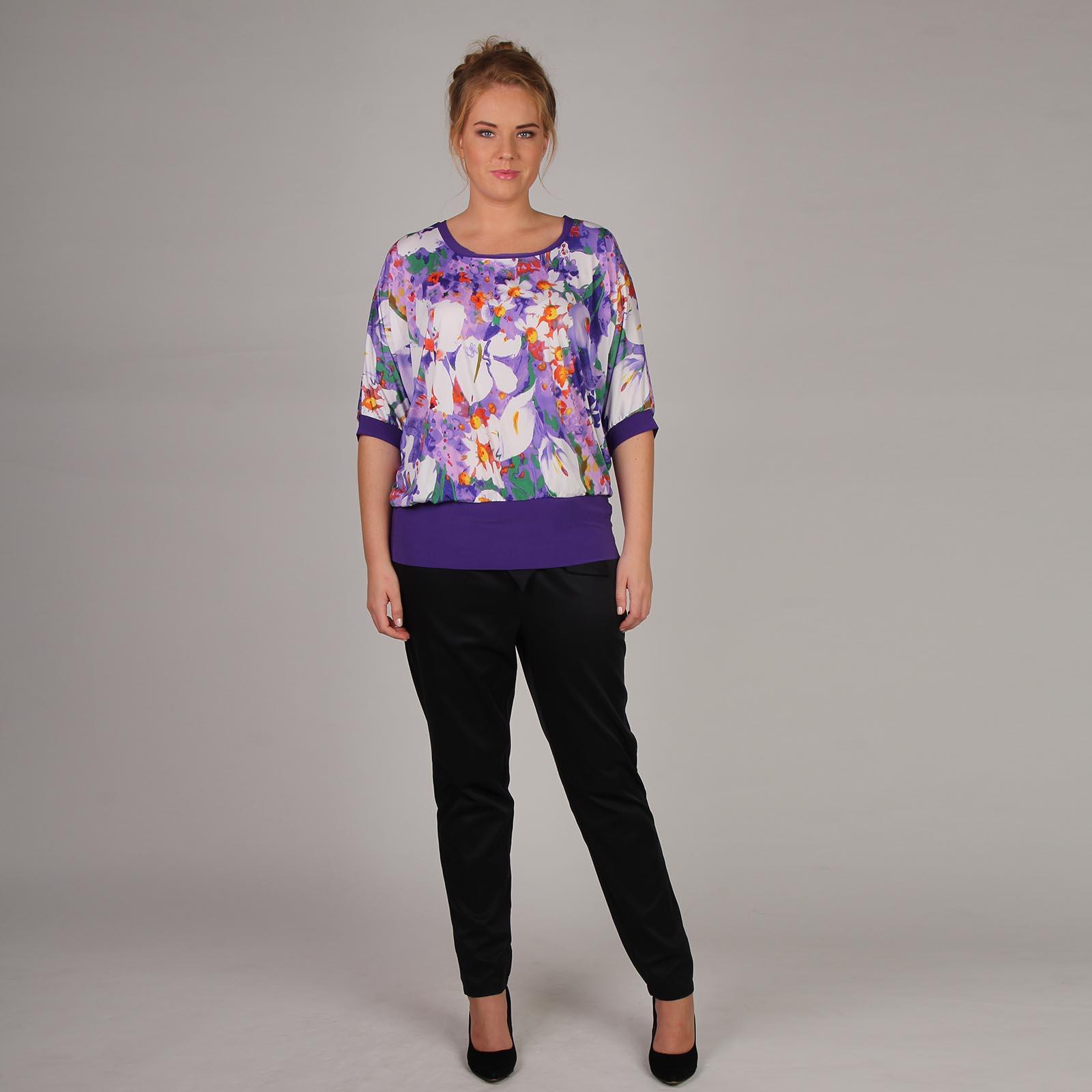 Блуза с рукавом «летучая мышь» и контрастными вставками