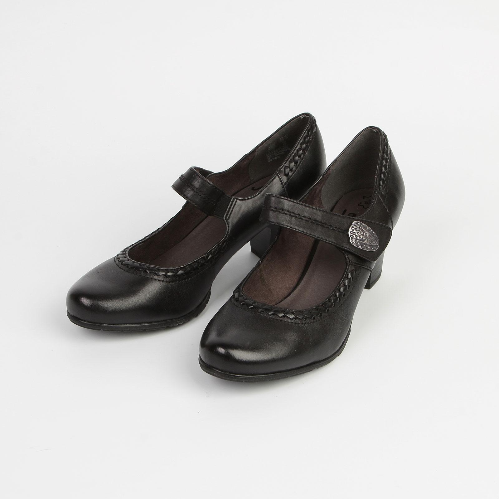 Туфли женские на среднем каблуке и с ремешком на липучке