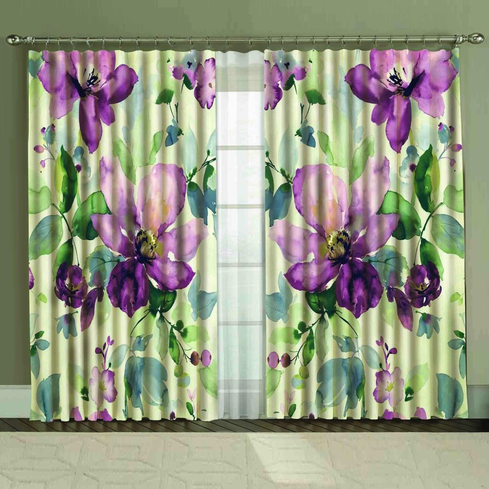 Комплект штор + тюль «Фиолетовая акварель»