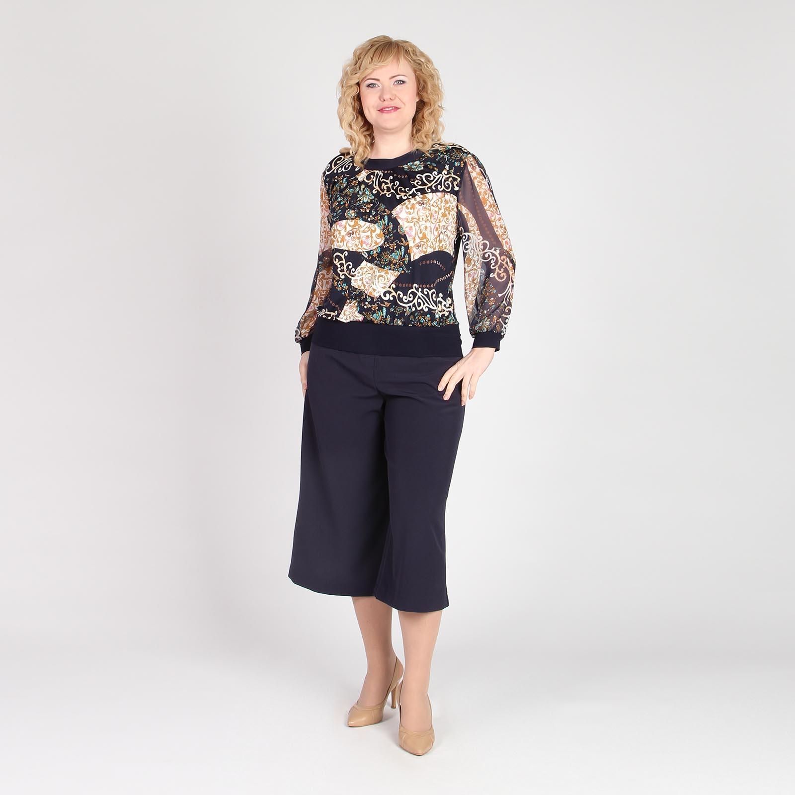 Блуза с шифоновыми рукавами и узорным принтом