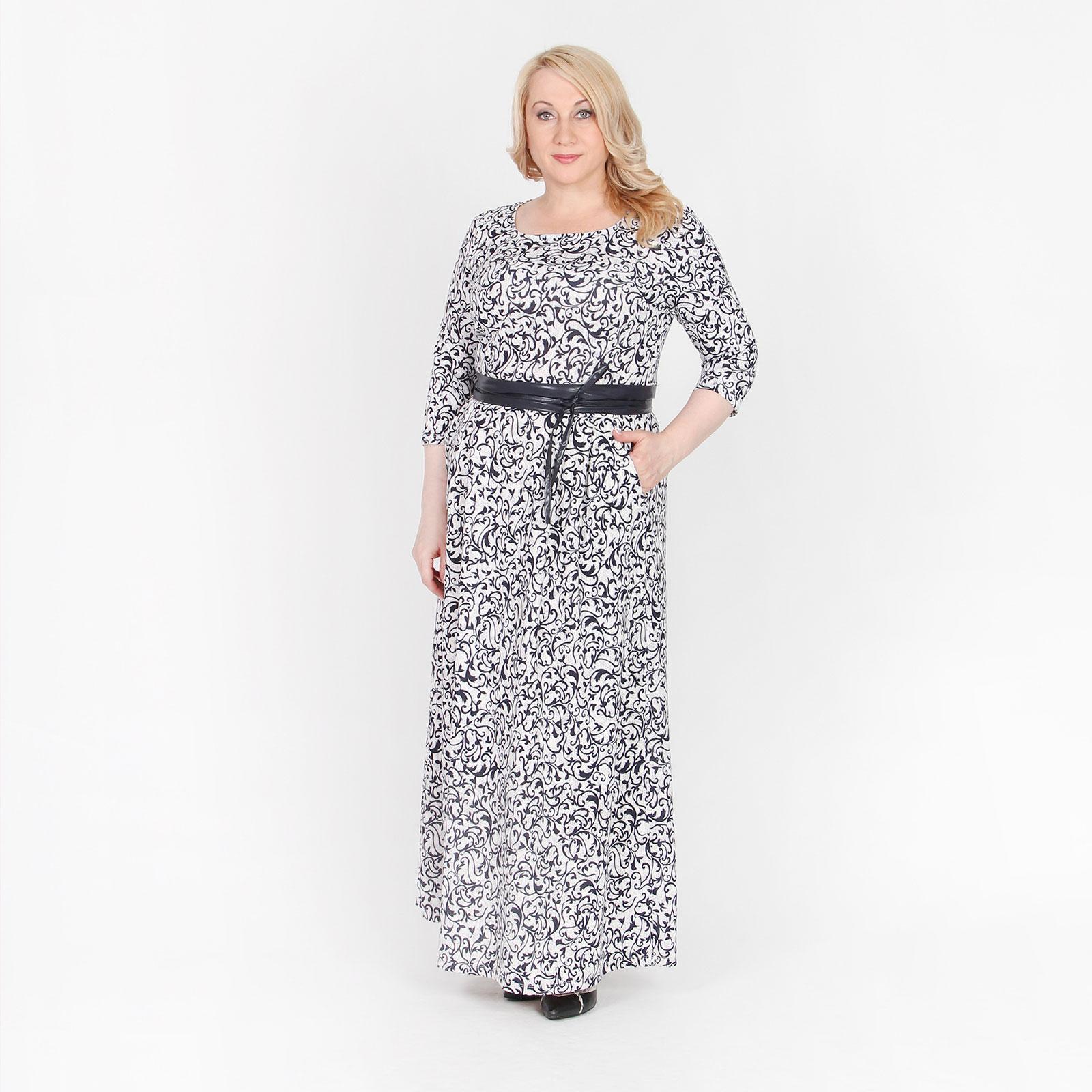 Платье-макси с карманами и поясом