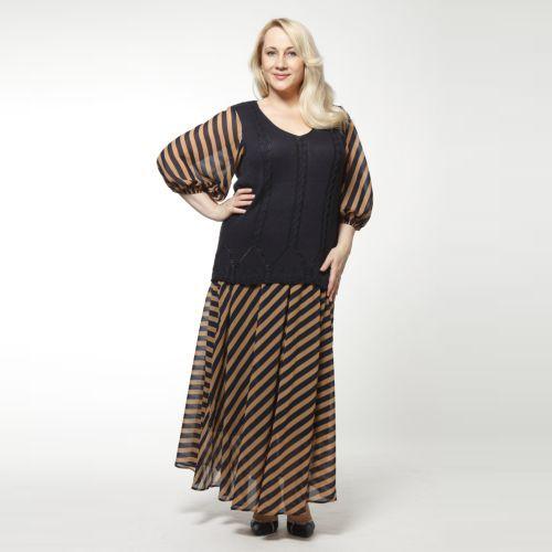 Костюм: блуза и юбка из шифона с геометрическим принтом