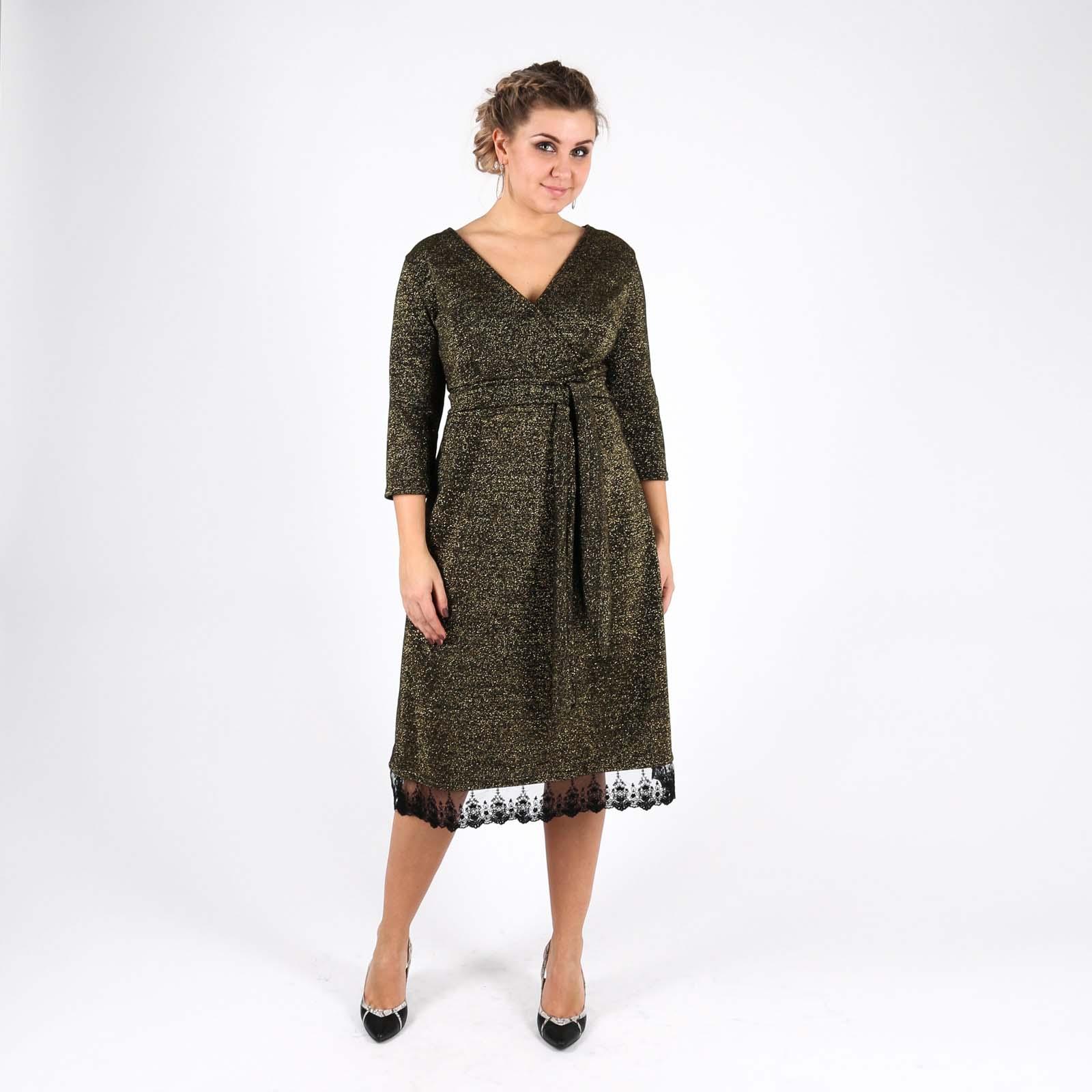 Платье с люрексом и поясом