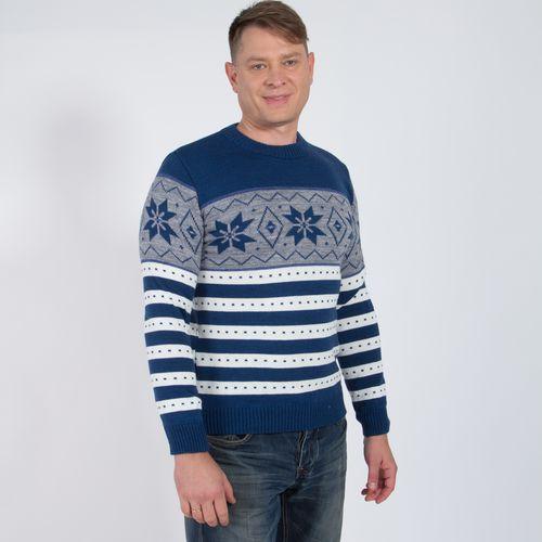 Пуловер мужской в полоску с узором «Снежинки»
