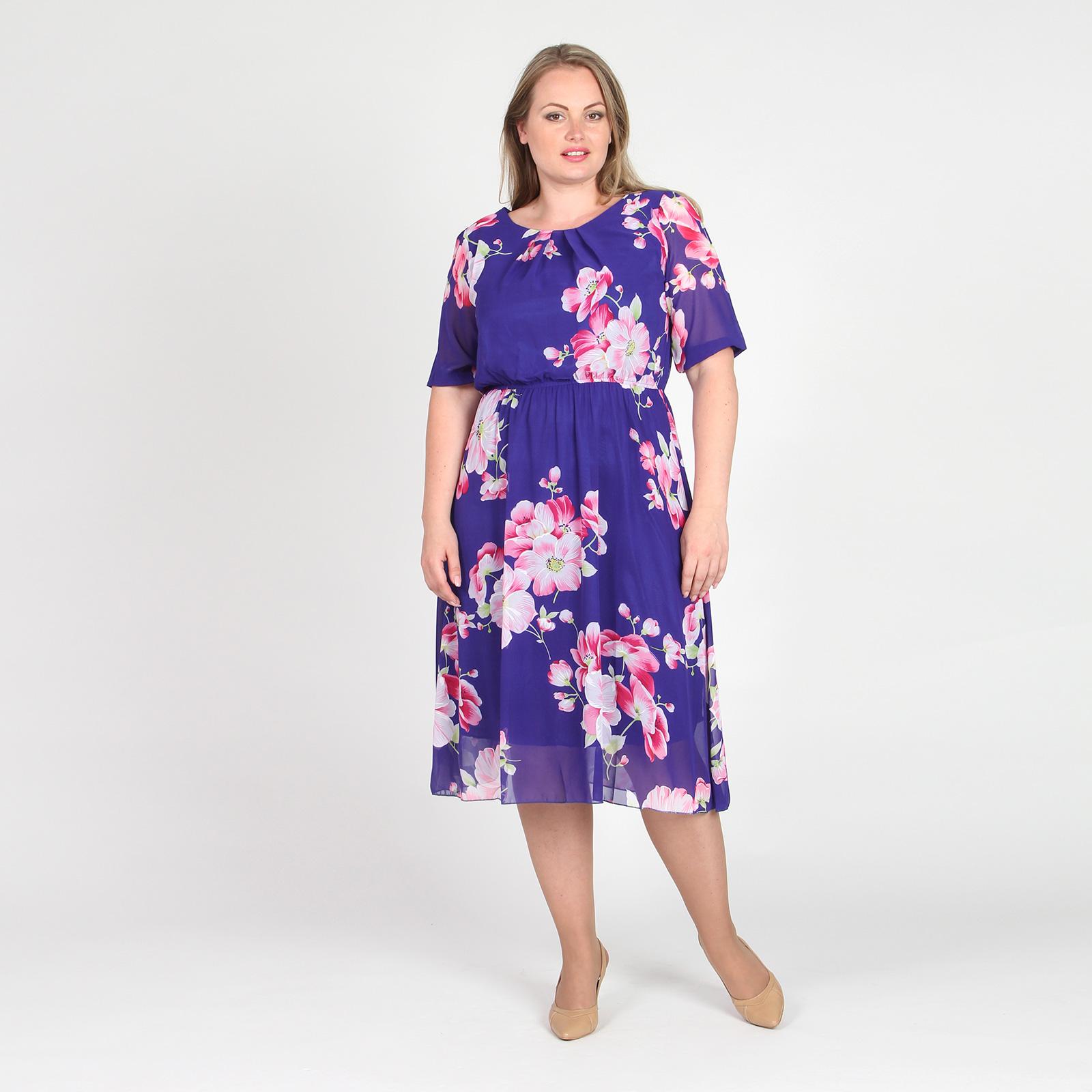 Платье-миди с резинкой на талии и округлым вырезом