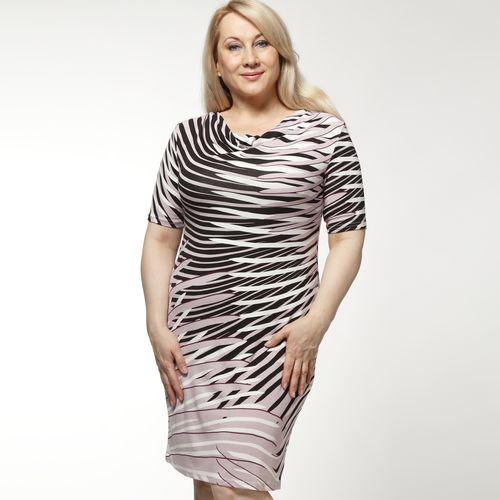 Платье с абстрактным принтом и воротником «качели»