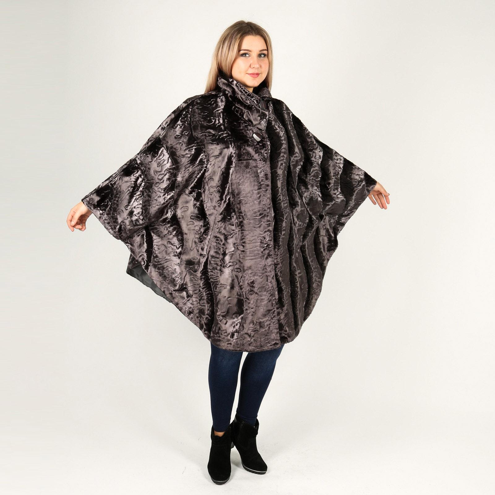 Пальто-пончо из каракуля