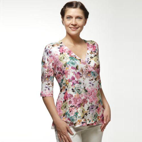 Блуза трикотажная с цветочным принтом