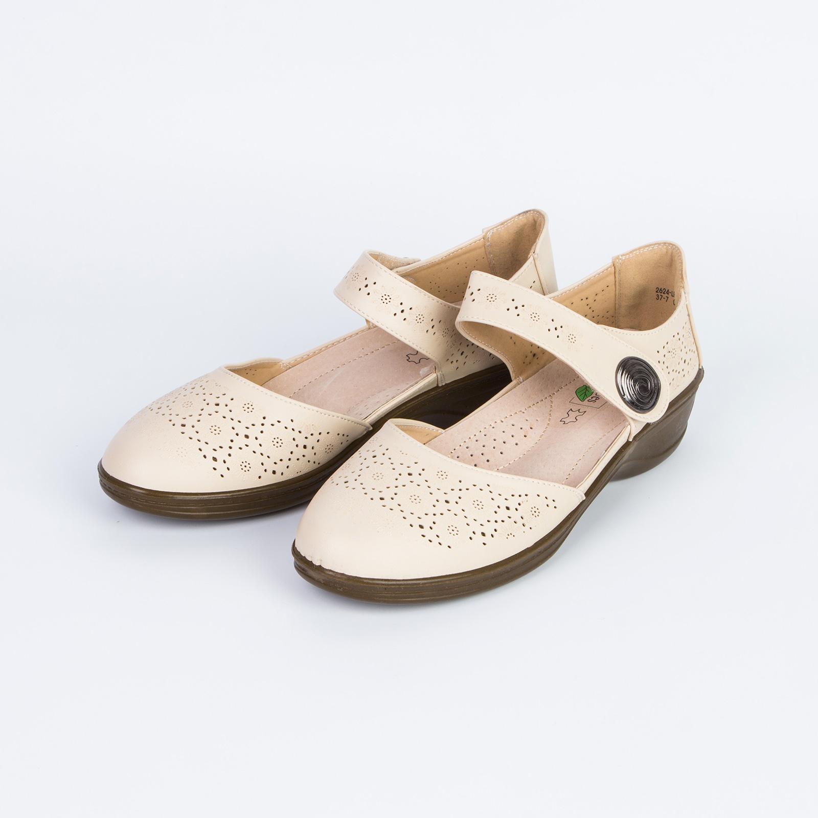 Туфли женские перфорированные на удобной подошве с ремешком