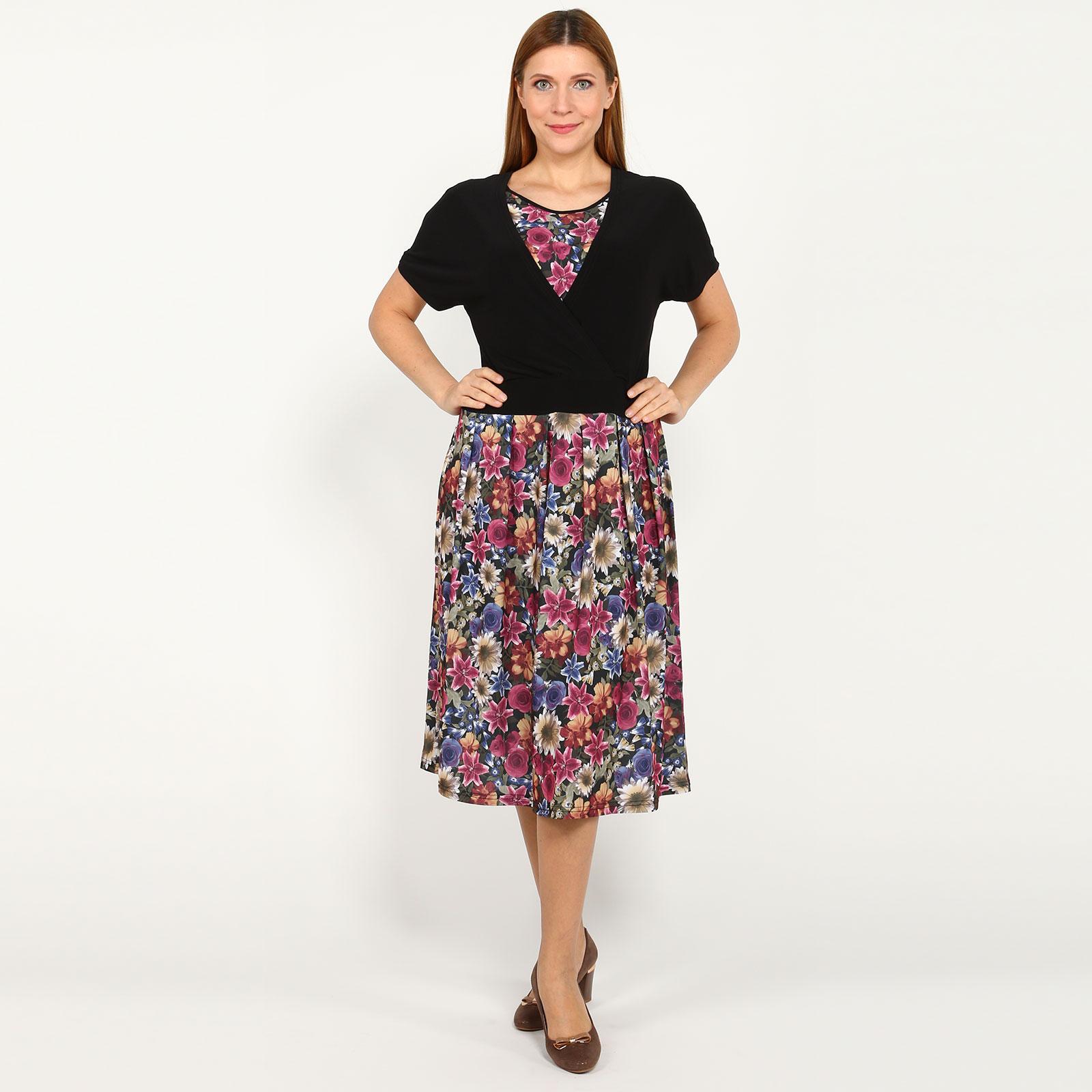 Платье-миди с эффектом двойки и принтом