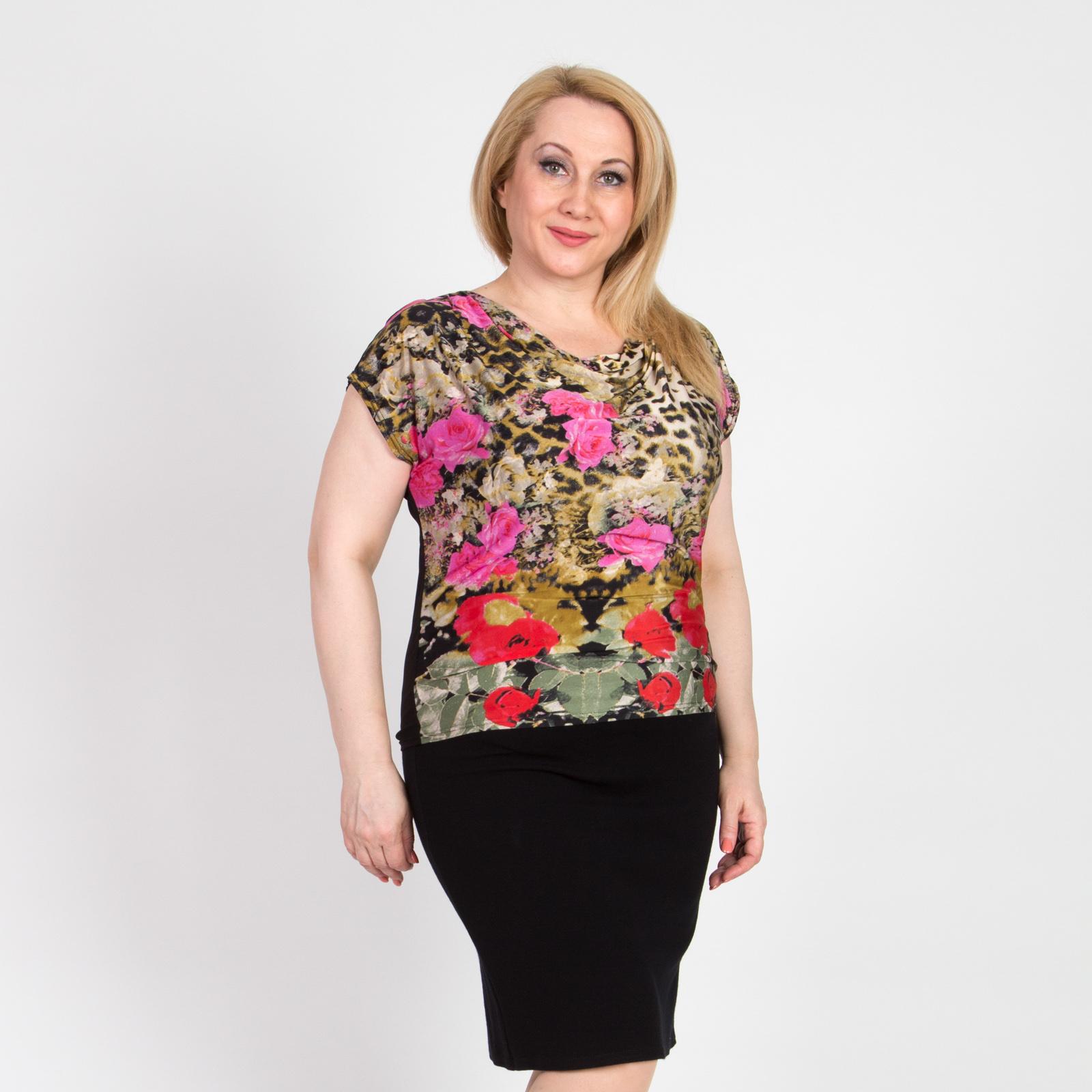 Блуза с воротником-хомут и коротким рукавом