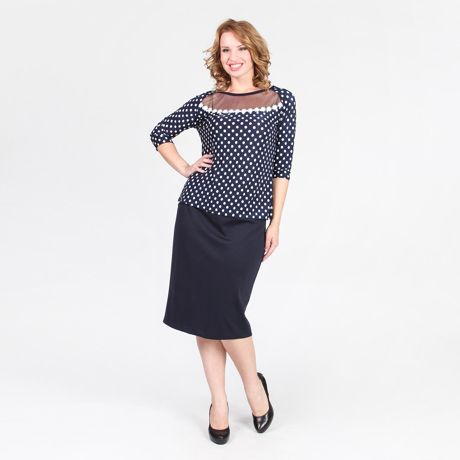 Блуза с гипюром и принтом «горох»