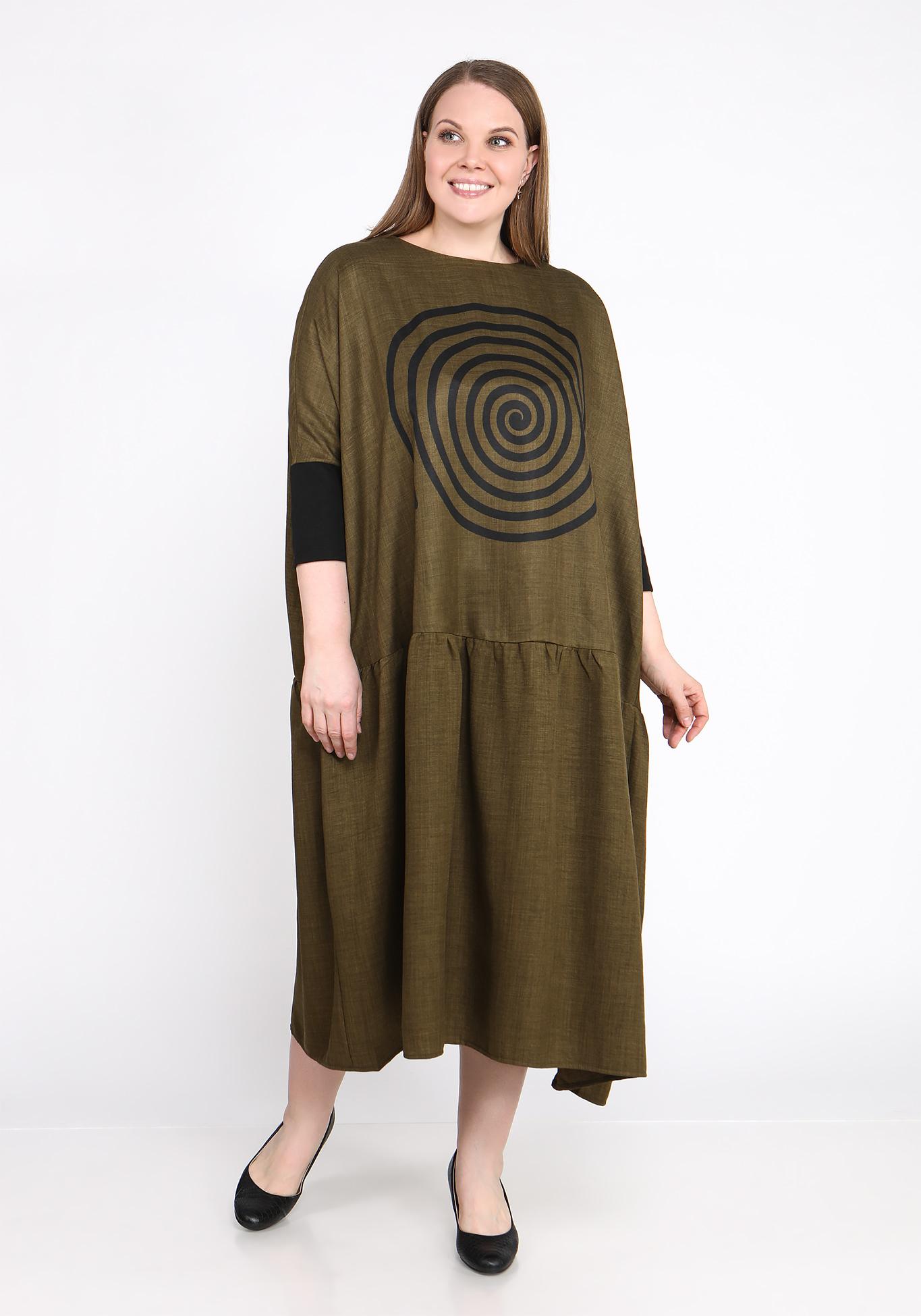 Платье свободного силуэта с принтом спираль