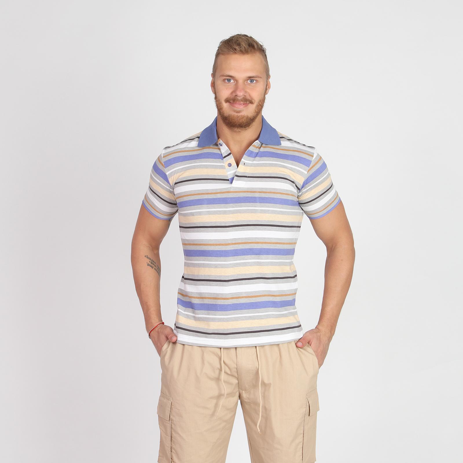 Поло мужское с принтом «полоска»