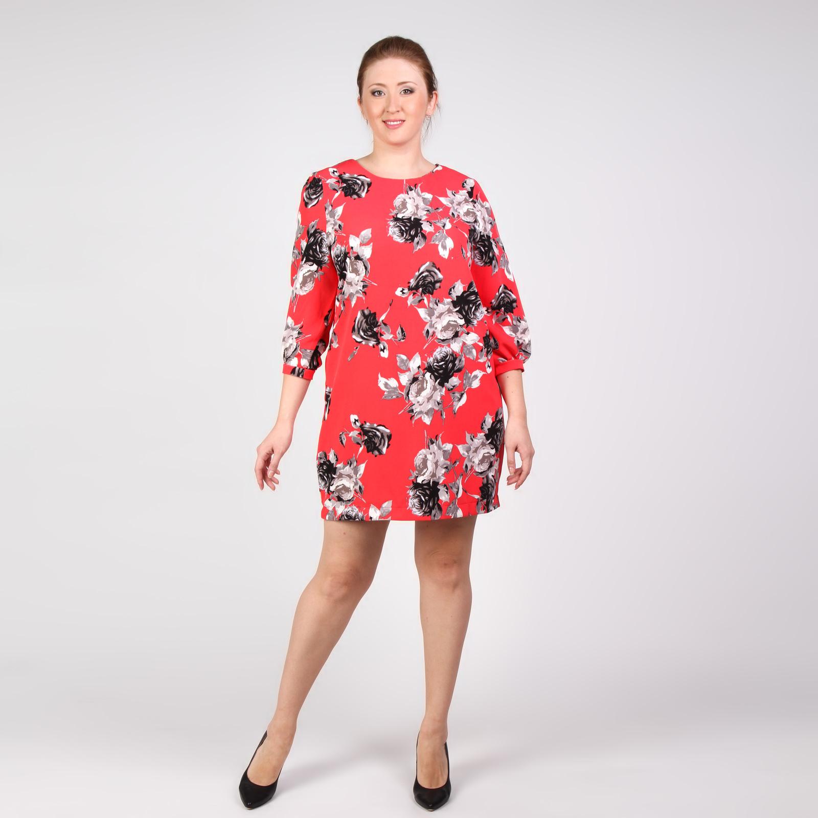 Платье-миди свободного силуэта с цветочным принтом