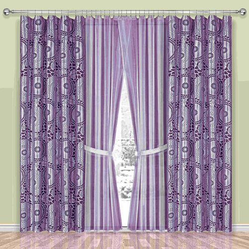 Комплект штор + тюль «Сиреневый сад»
