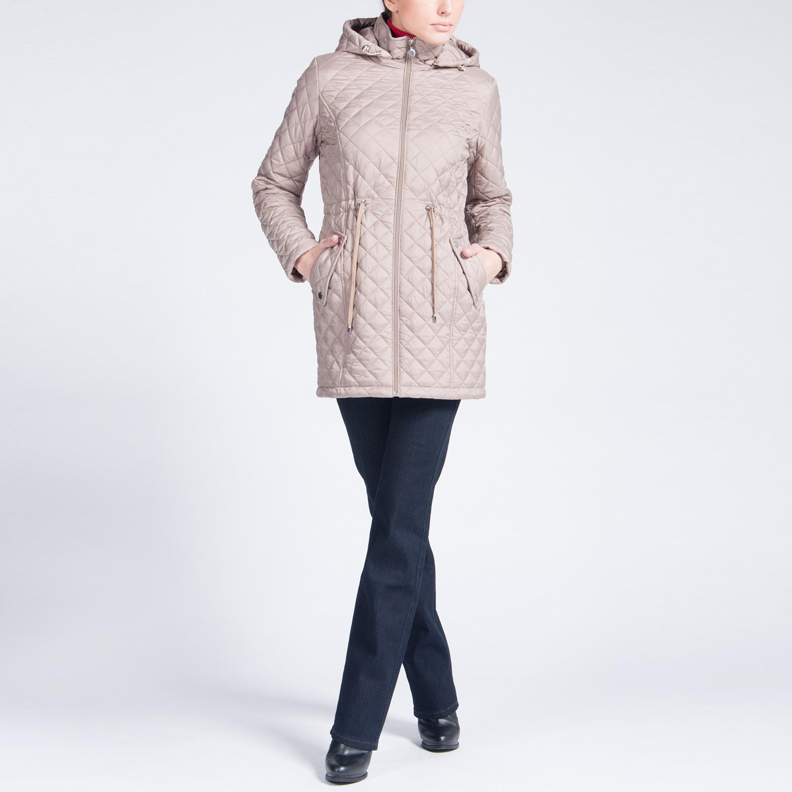 Куртка стеганая с капюшоном и кулисками на поясе